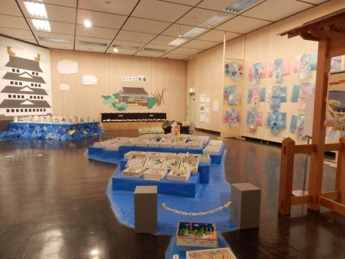 展示の様子 中央に大きなびわ湖が出現 膳所城もある